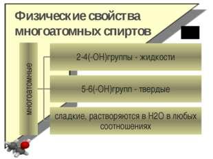 Физические свойства многоатомных спиртов многоатомные 2-4(-ОН)группы - жидкос