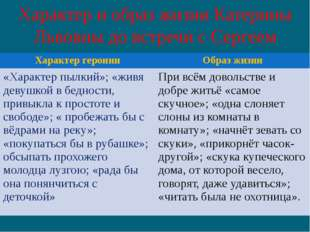 Характер и образ жизни Катерины Львовны до встречи с Сергеем Характер героини