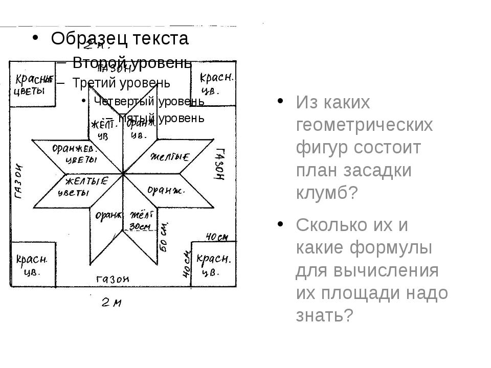 Из каких геометрических фигур состоит план засадки клумб? Сколько их и какие...