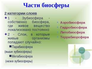 Части биосферы Например, секвойя из Северной Америки или Драконово дерево с К