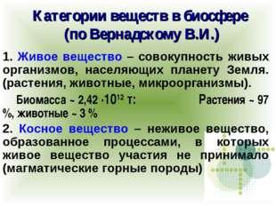 Категории веществ в биосфере (по Вернадскому В.И.) 1. Живое вещество – совоку