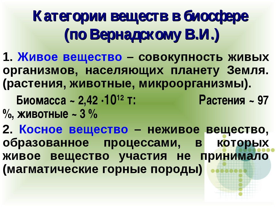 Категории веществ в биосфере (по Вернадскому В.И.) 1. Живое вещество – совоку...