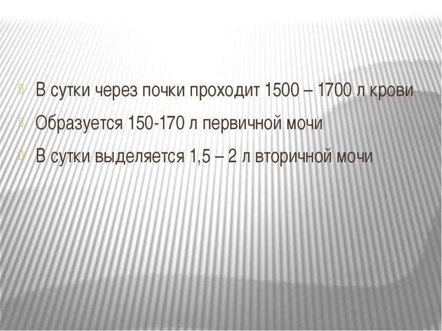 В сутки через почки проходит 1500 – 1700 л крови Образуется 150-170 л первич...