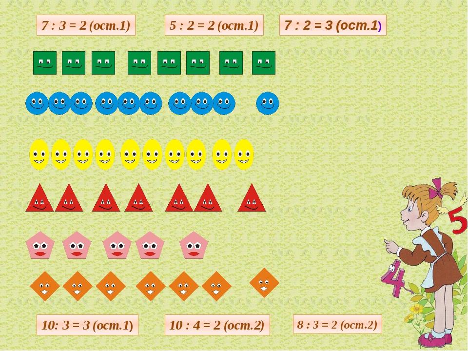 7 : 3 = 2 (ост.1) 5 : 2 = 2 (ост.1) 7 : 2 = 3 (ост.1) 10: 3 = 3 (ост.1) 10 :...