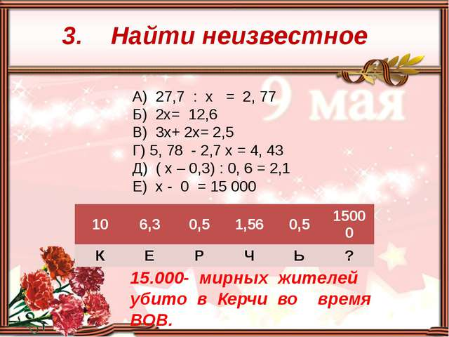 3. Найти неизвестное А) 27,7 : х = 2, 77 Б) 2х= 12,6 В) 3х+ 2х= 2,5 Г) 5, 78...