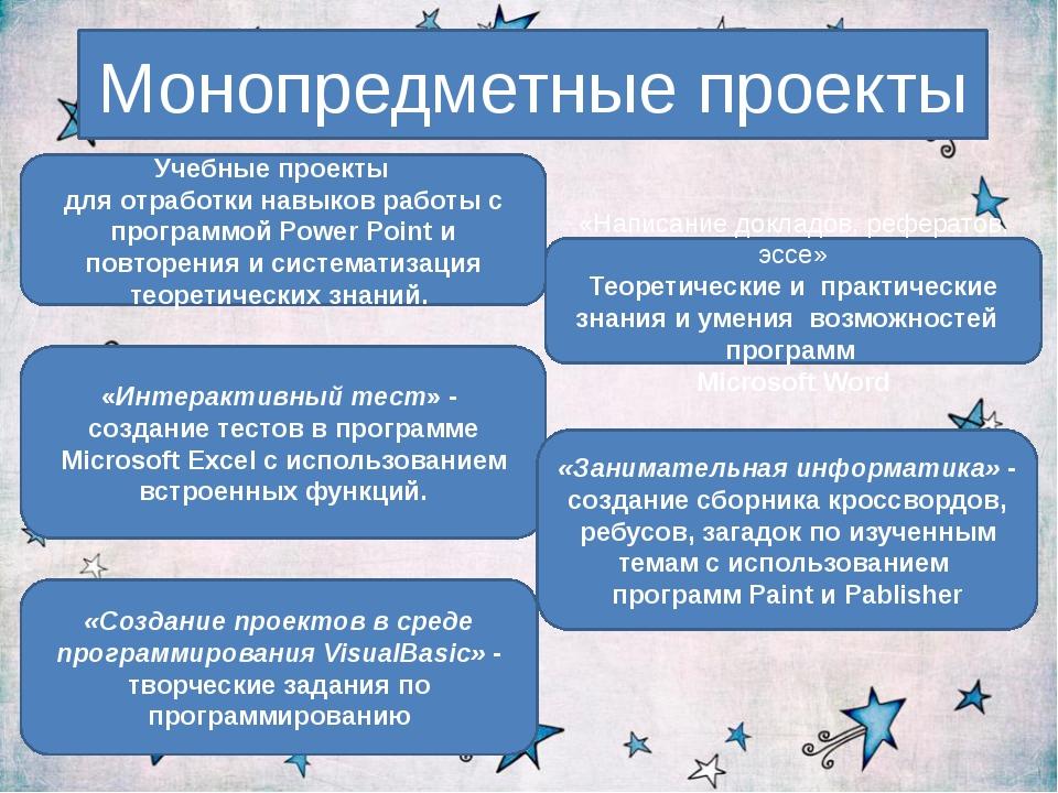 Монопредметные проекты Учебные проекты для отработки навыков работы с програм...