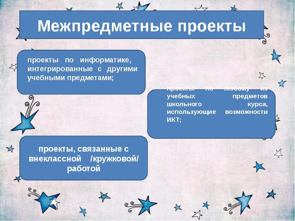 Межпредметные проекты проекты, связанные с внеклассной /кружковой/ работой пр...