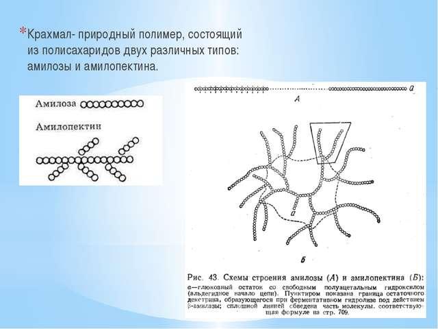 Крахмал- природный полимер, состоящий из полисахаридов двух различных типов:...