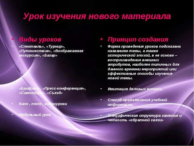 Урок изучения нового материала Виды уроков «Спектакль», «Турнир», «Путешестви...