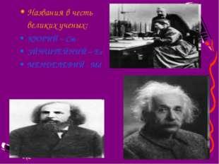 Названия в честь великих ученых: КЮРИЙ – Cm ЭЙНШТЕЙНИЙ – Es МЕНДЕЛЕВИЙ - Md
