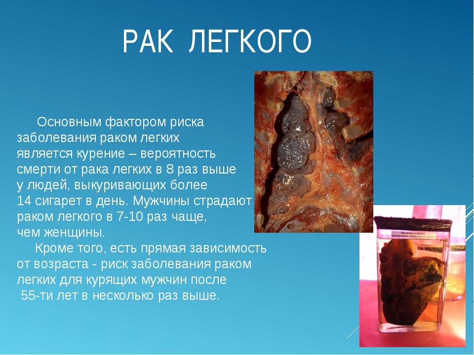 РАК ЛЕГКОГО Основным фактором риска заболевания раком легких является курение...
