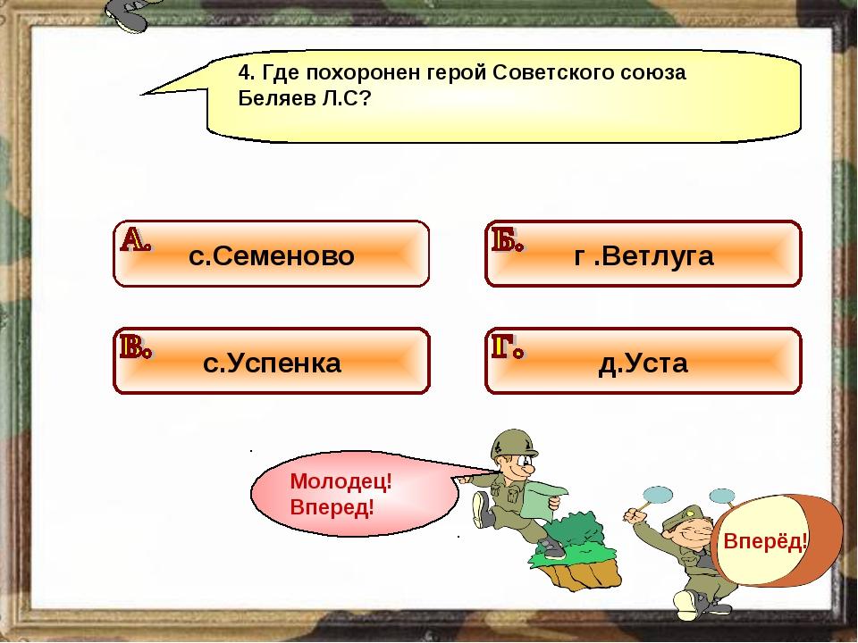 4. Где похоронен герой Советского союза Беляев Л.С?