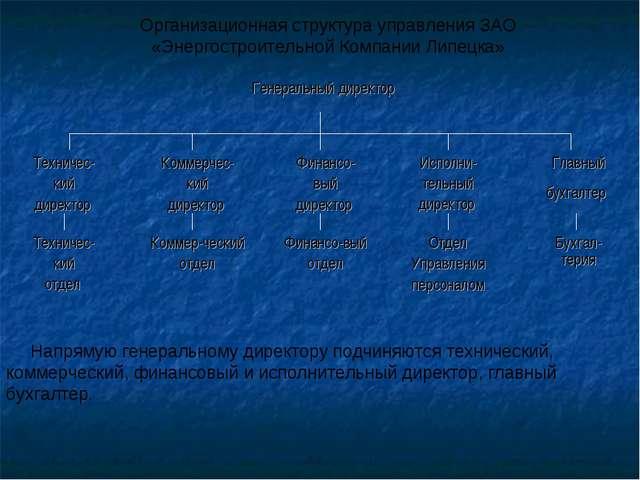 Организационная структура управления ЗАО «Энергостроительной Компании Липецка...