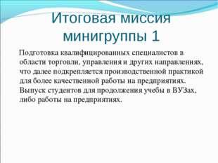 Итоговая миссия минигруппы 1 Подготовка квалифицированных специалистов в обл