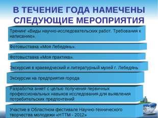 В ТЕЧЕНИЕ ГОДА НАМЕЧЕНЫ СЛЕДУЮЩИЕ МЕРОПРИЯТИЯ Тренинг «Виды научно-исследоват