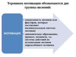 Термином мотивация обозначаются две группы явлений: