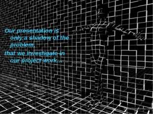 Our presentation is only a shadow of the problem, that we investigate in our