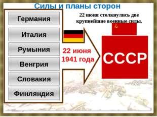 Силы и планы сторон Германия Италия Румыния Венгрия Словакия Финляндия СССР 2