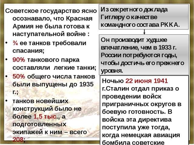 Советское государство ясно осознавало, что Красная Армия не была готова к нас...