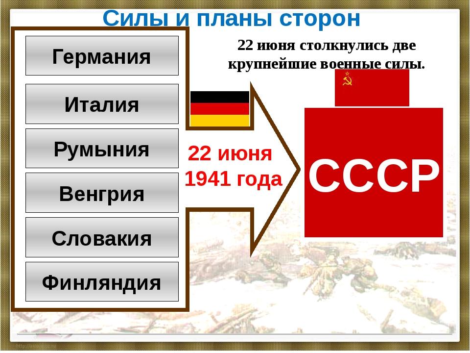Силы и планы сторон Германия Италия Румыния Венгрия Словакия Финляндия СССР 2...