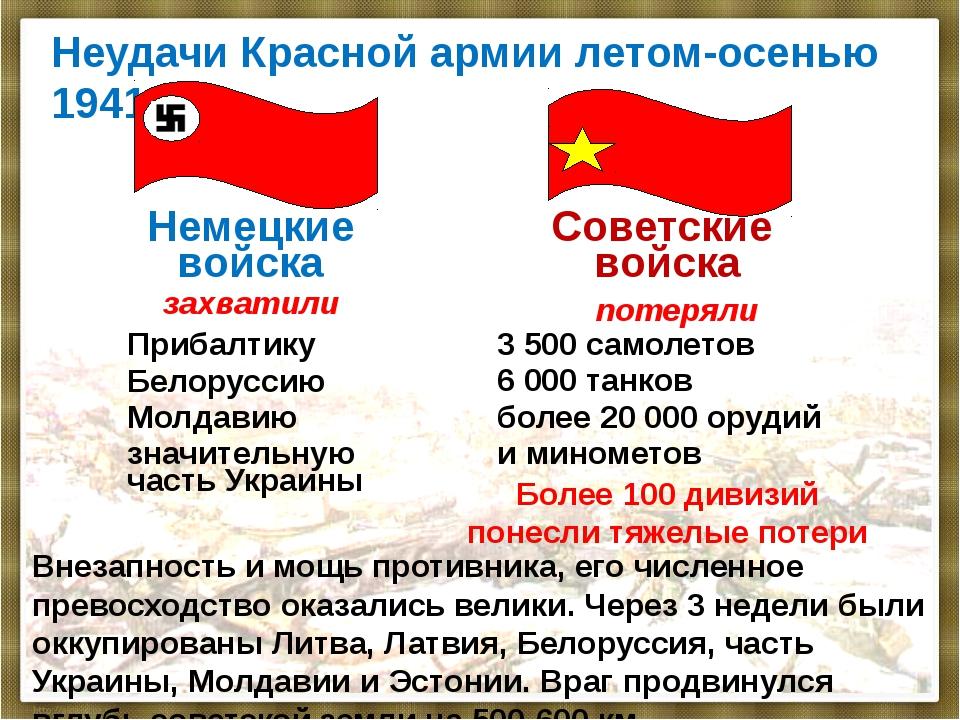 Неудачи Красной армии летом-осенью 1941 г. Внезапность и мощь противника, его...