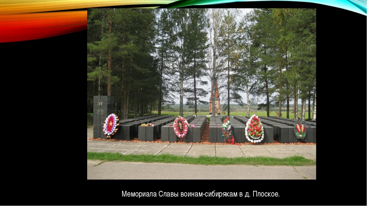 Мемориала Славы воинам-сибирякам в д. Плоское.