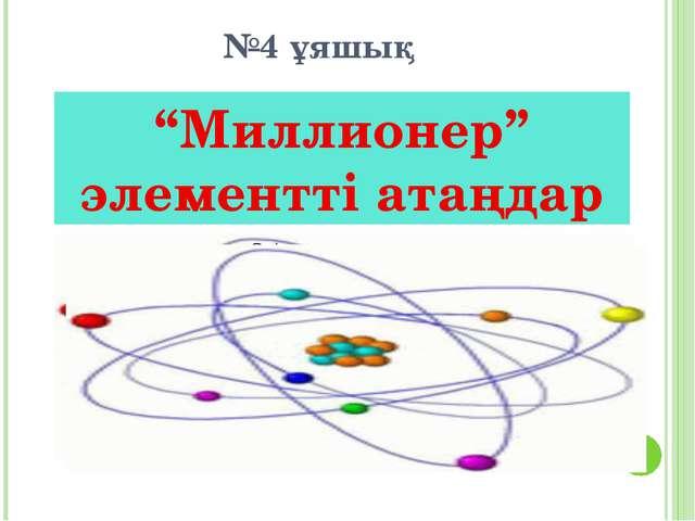 """№4 ұяшық """"Миллионер"""" элементті атаңдар"""