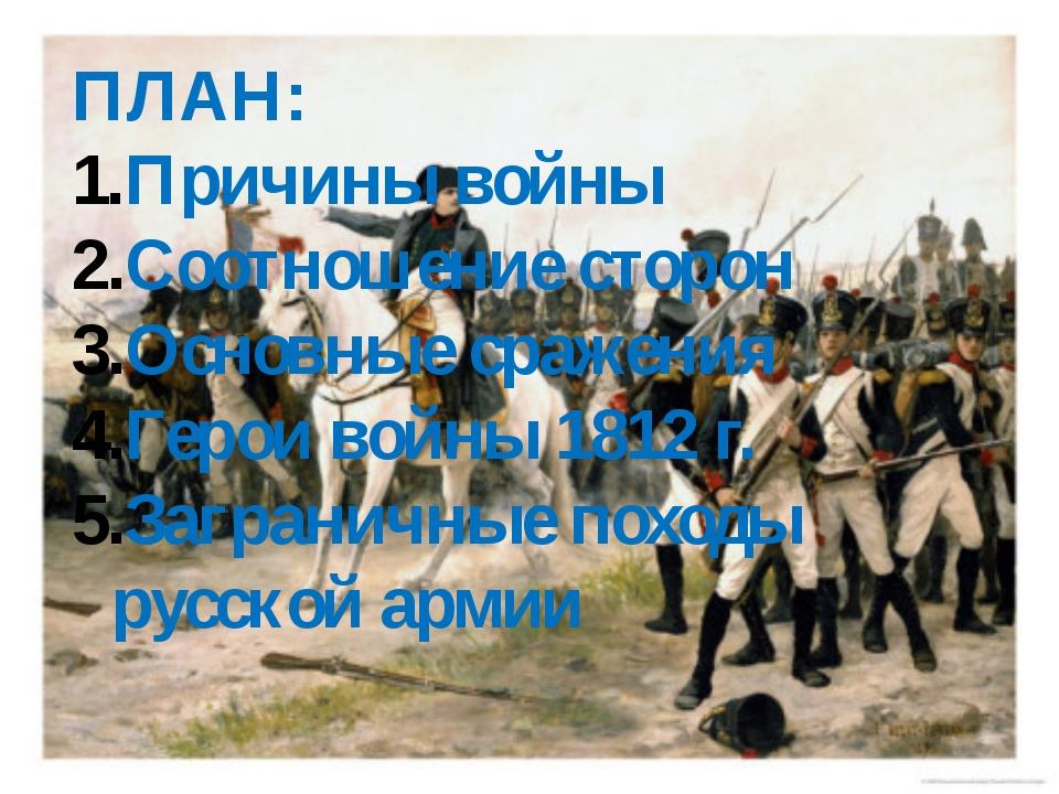 ПЛАН: Причины войны Соотношение сторон Основные сражения Герои войны 1812 г....