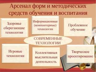 Арсенал форм и методических средств обучения и воспитания СОВРЕМЕННЫЕ ТЕХНОЛО