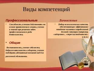 Виды компетенций Профессиональные Способность успешно действовать на основе п