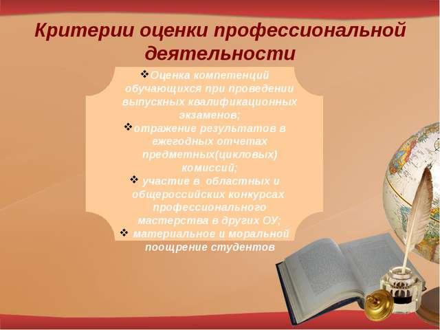 Критерии оценки профессиональной деятельности Оценка компетенций обучающихся...