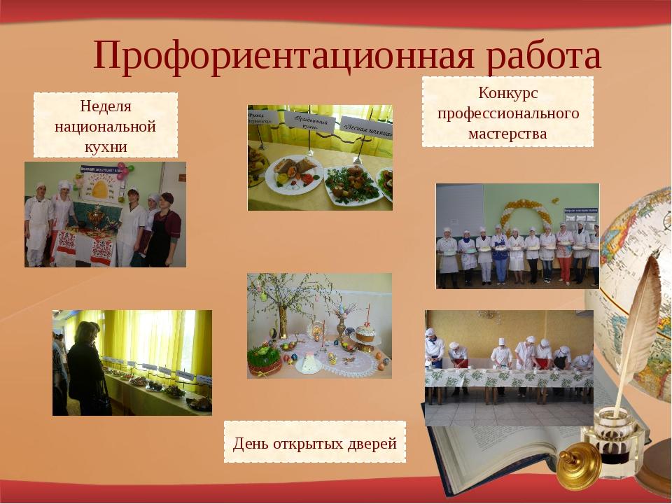 Профориентационная работа Неделя национальной кухни День открытых дверей Конк...