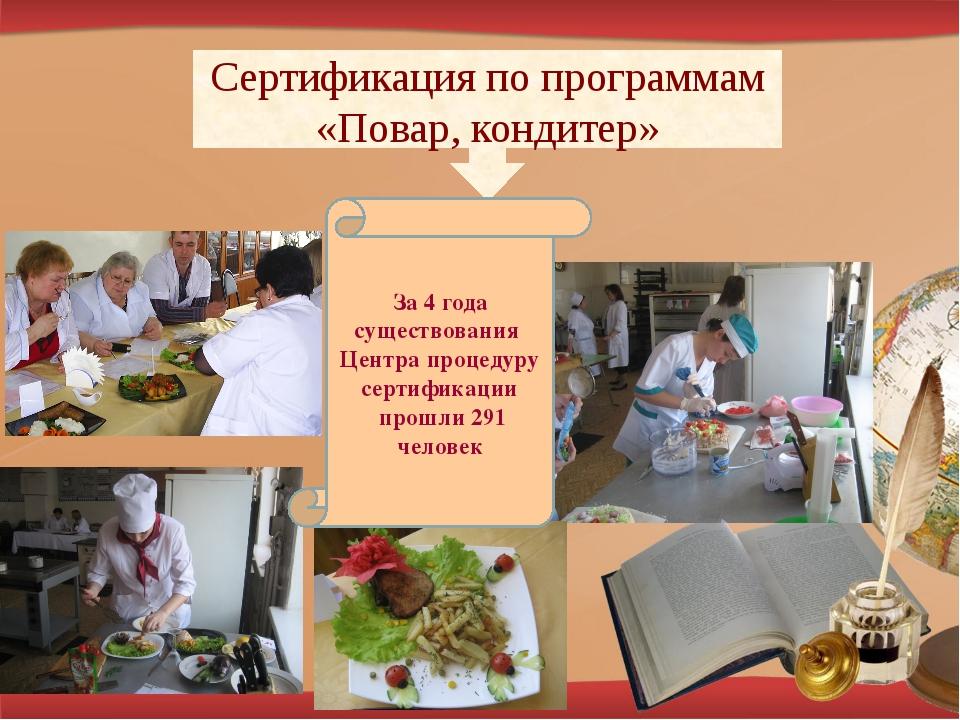 Сертификация по программам «Повар, кондитер» За 4 года существования Центра п...