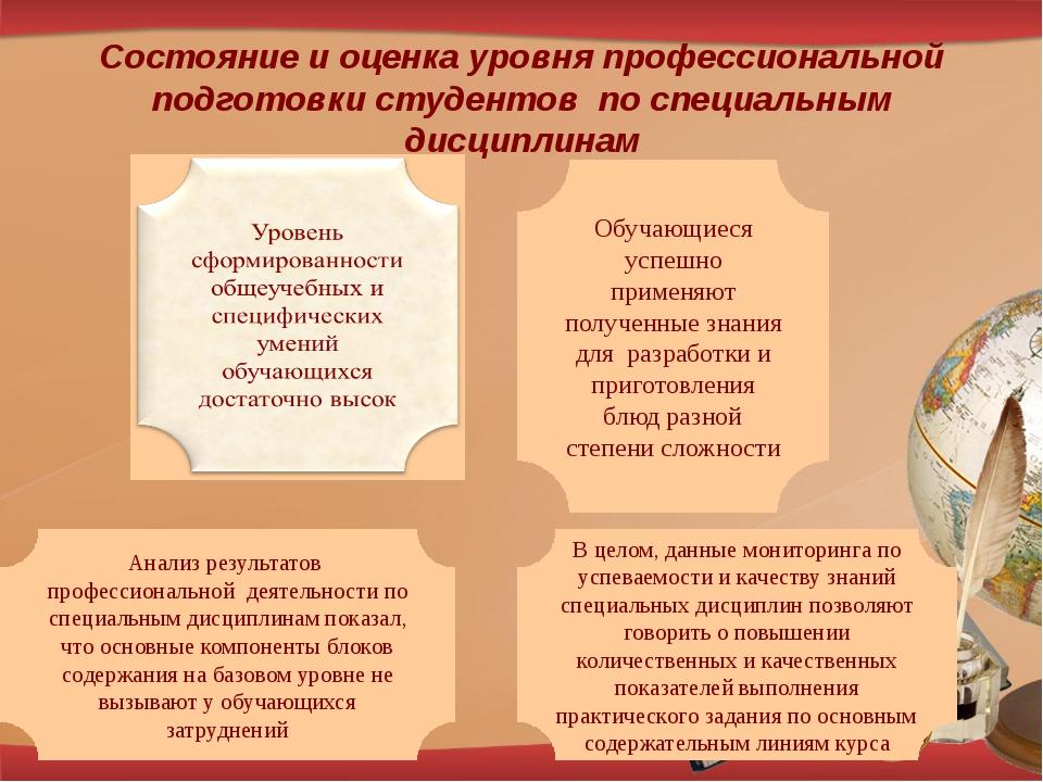 Состояние и оценка уровня профессиональной подготовки студентов по специальны...