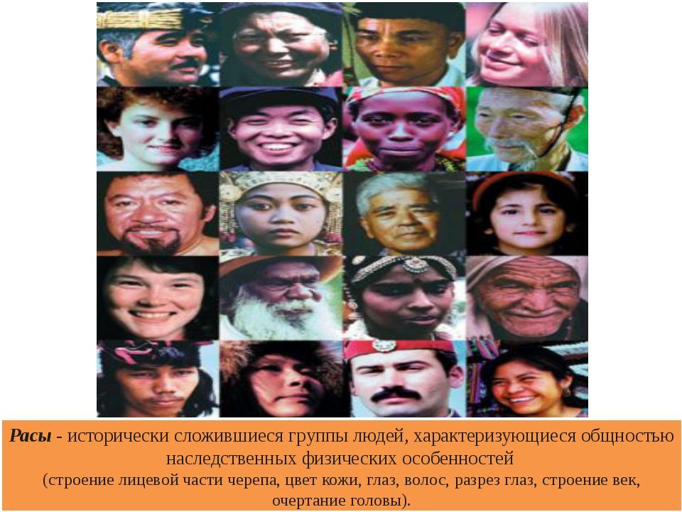 Расы - исторически сложившиеся группы людей, характеризующиеся общностью насл...