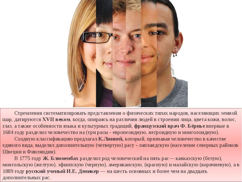 Стремления систематизировать представления о физических типах народов, насел...