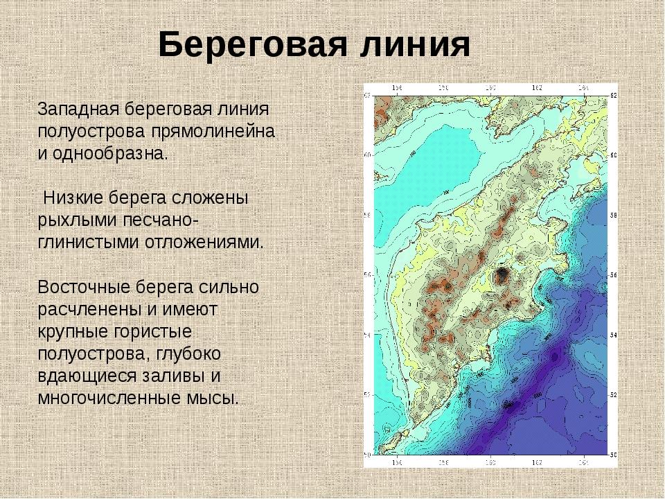 Береговая линия 3ападная береговая линия полуострова прямолинейна и однообраз...