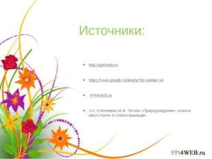 Источники: http://ppt4web.ru https://www.google.ru/imghp?hl=ru&tab=wi PPt4WEB