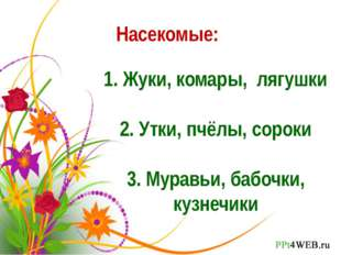 Насекомые: 1. Жуки, комары, лягушки 2. Утки, пчёлы, сороки 3. Муравьи, бабочк