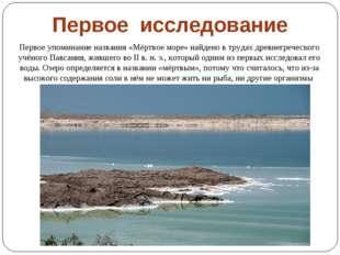 Первое упоминание названия «Мёртвое море» найдено в трудах древнегреческого у
