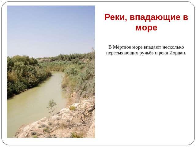 В Мёртвое море впадают несколько пересыхающих ручьёв и река Иордан. Реки, впа...