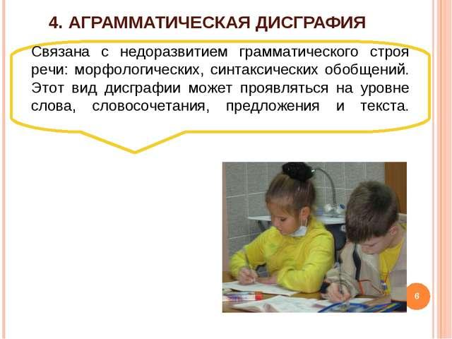 4. АГРАММАТИЧЕСКАЯ ДИСГРАФИЯ Связана с недоразвитием грамматического строя ре...