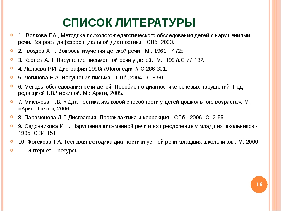 СПИСОК ЛИТЕРАТУРЫ 1. Волкова Г.А., Методика психолого-педагогического обследо...