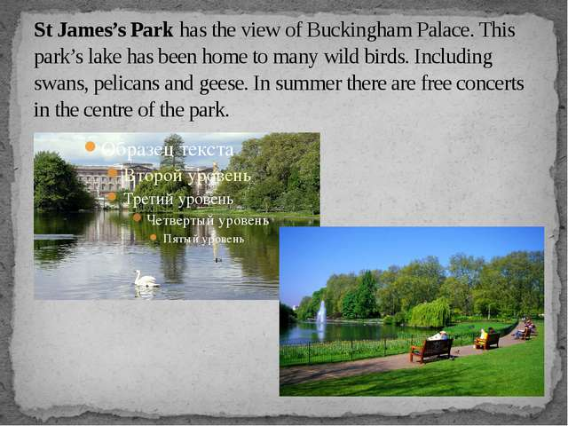 St James's Park has the view of Buckingham Palace. This park's lake has been...