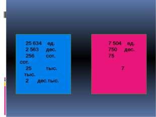 25 634 ед.  7 504 ед. 2 563 дес. 750 дес. 256 сот. 75 сот. 25 тыс. 7 тыс.
