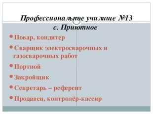 Профессиональное училище №13 с. Приютное Повар, кондитер Сварщик электросваро