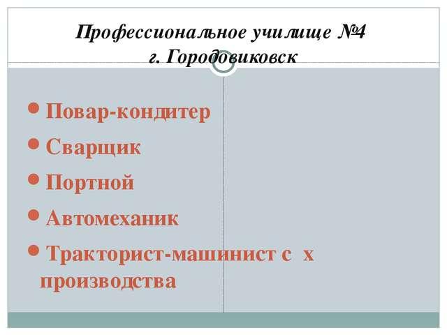 Профессиональное училище №4 г. Городовиковск Повар-кондитер Сварщик Портной А...