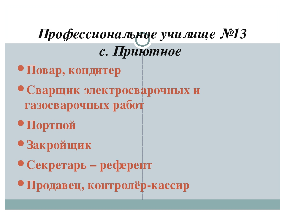 Профессиональное училище №13 с. Приютное Повар, кондитер Сварщик электросваро...