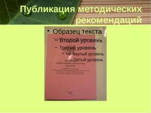 Публикация методических рекомендаций