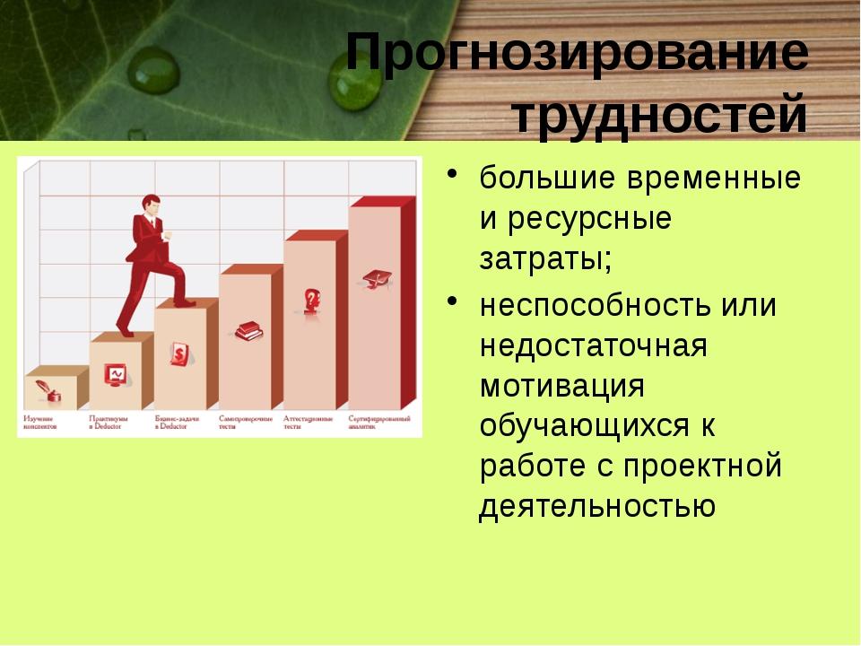 Прогнозирование трудностей большие временные и ресурсные затраты; неспособнос...
